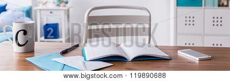 Messy Desk Of Schoolchild