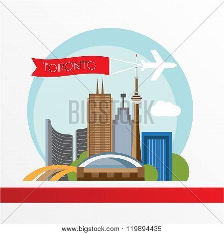 Toronto detailed silhouette. Trendy vector illustration, flat style.