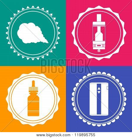 Set Of 4 Vaping Design Element Signs