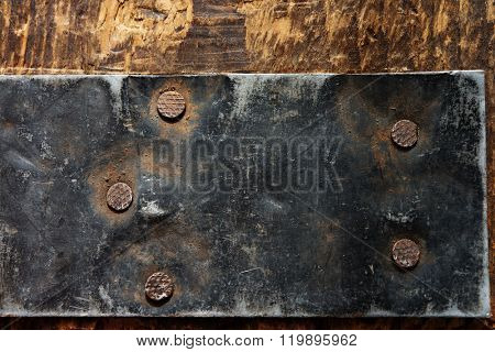 Reinforcement. Old Iron reinforcement on a old wooden crate.