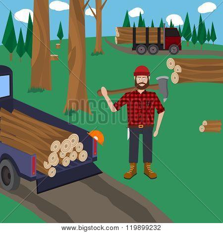 Lumberjack vector icon set