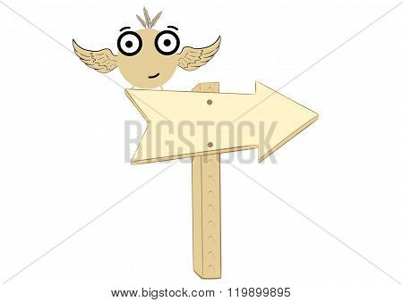 Birdie on a road sign
