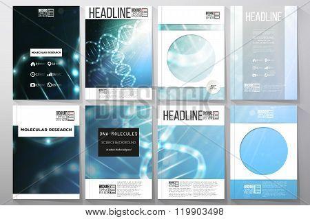 Set of business templates for brochure, flyer or booklet. DNA molecule structure on dark blue background. Science vector background. poster