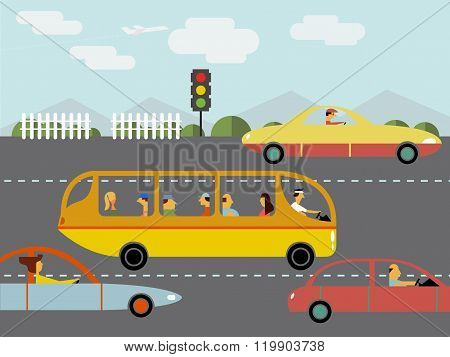 Vector image of road trafic. Flat style.