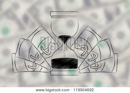 Hourglass Surrounded By Banknotes