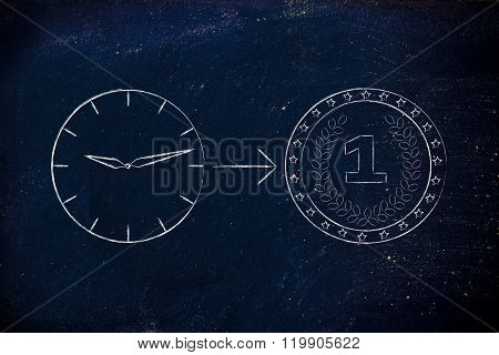 Clock With Arrow Pointing At Coin
