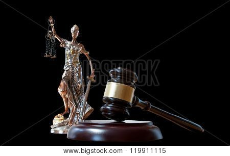 Themis Figurine And Gavel