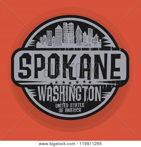 Stamp Or Label With Name Of Spokane, Washington
