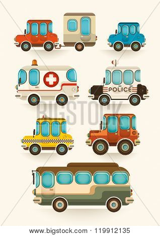 Set of isolated vehicles. Vector illustration.