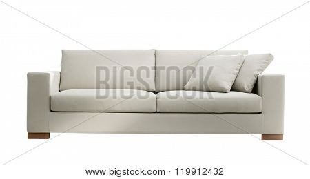 modern white suede couch isolated on white background