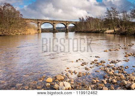 Alston Arches Above River South Tyne