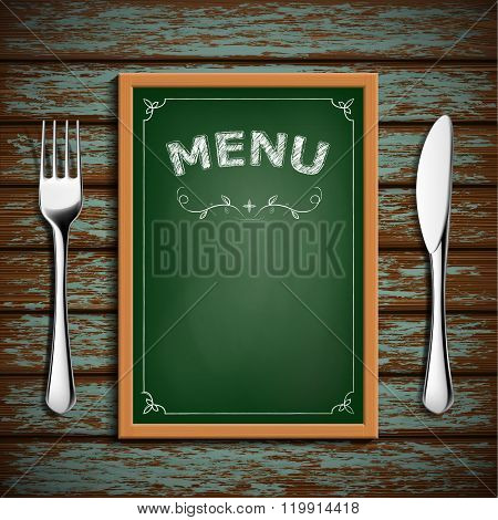 Wooden Board With Menu