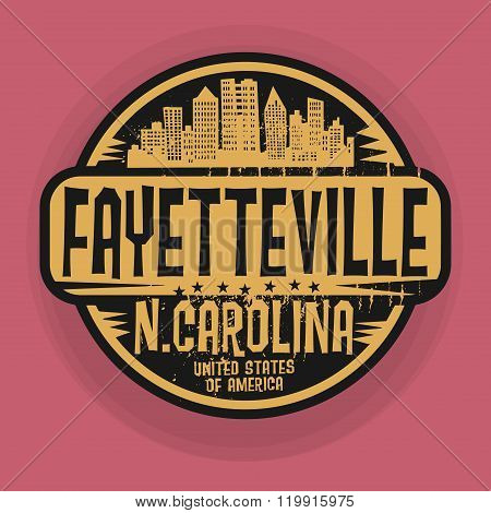 Stamp Or Label With Name Of Fayetteville, North Carolina