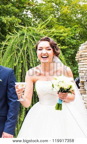 Bride at an Outdoor Wedding Ceremony
