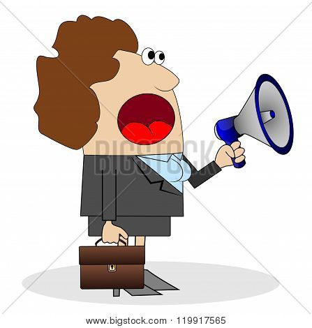 Business Woman Shouting Into Loudspeaker