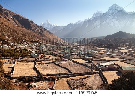 Khunde And Khumjung Villages With Small Fields And Walls