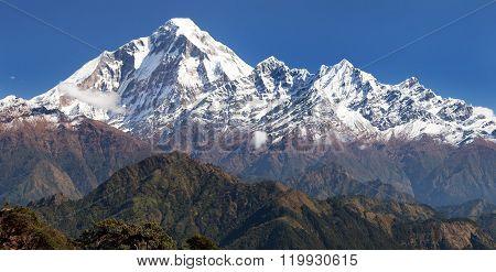 Panoramatic View From Jaljala Pass To Dhaulagiri Himal
