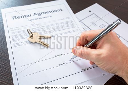 Rental agreement contract to sign