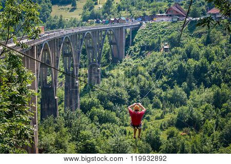 Djurdjevic bridge zip line over the Tara river canyon