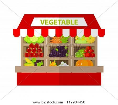 Local Vegetable Stall. Fresh Organic Food Products Shop. Flat