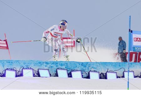 STOCKHOLM SWEDEN - FEB 23 2016: Lindsey Vonn (USA) jumping at the FIS Alpine Ski World Cup - Men's and Woman's city event February 23 2016 Stockholm Sweden