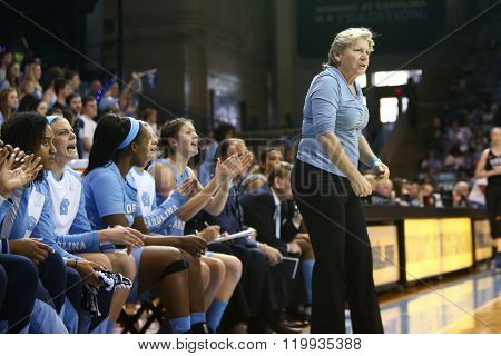 CHAPEL HILL, NC-FEB 28: University of North Carolina head coach Sylvia Hatchell on the sidelines against the Duke Blue Devils on February 28, 2016 at Carmichael Arena in Chapel Hill, North Carolina.