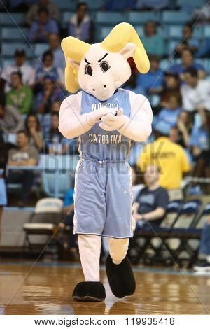 CHAPEL HILL, NC-FEB 28: University of North Carolina Tar Heels mascot performs at the game against the Duke Blue Devils on February 28, 2016 at Carmichael Arena.