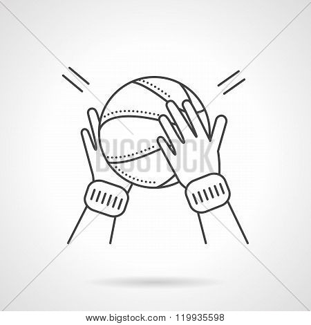 Basketball game flat line design vector icon