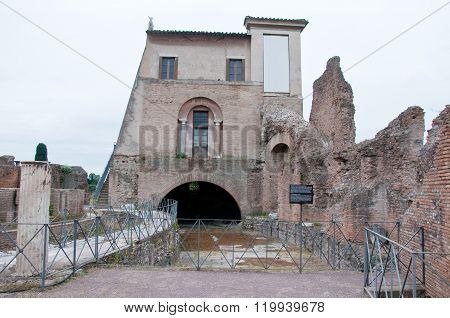 """Monument in the Roman Forum in particular the """"Domus Flavia""""italy poster"""
