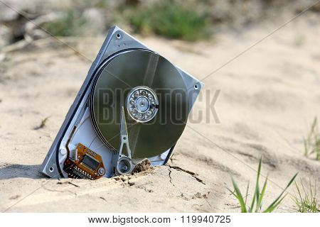 lost and broken computer hardrive in sand