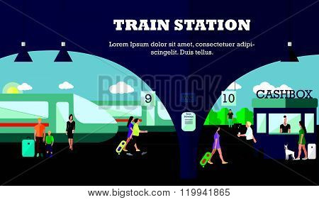 Mode of Transport concept vector illustration. Railway station banner. City transportation objects.