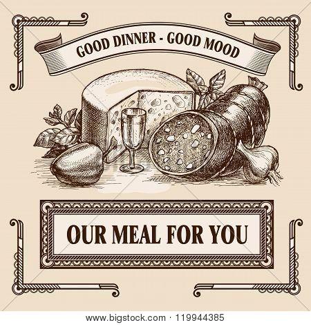 Still-life Retro Food Advertisement Layout Design Template.