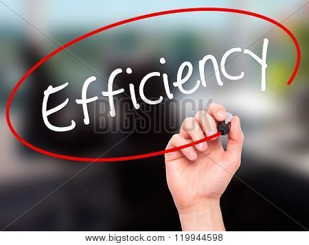 Man Hand Writing Efficiency With Black Marker On Visual Screen.