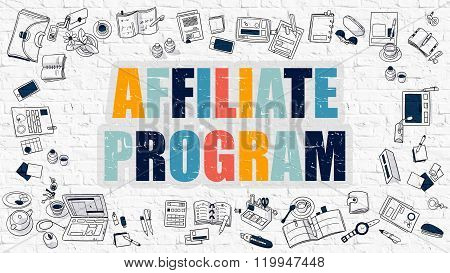 Affiliate Program in Multicolor. Doodle Design.