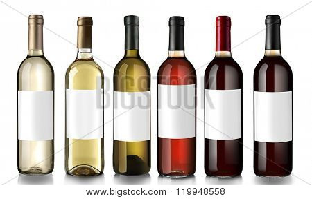 Bottles of wine with empty labels, isolated on white
