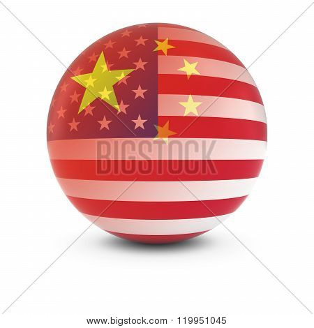 Chinese And American Flag Ball - Fading Flags Of China And The Usa