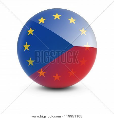 Czech And European Flag Ball - Fading Flags Of The Czech Republic And The Eu