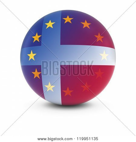 Danish And European Flag Ball - Fading Flags Of Denmark And The Eu