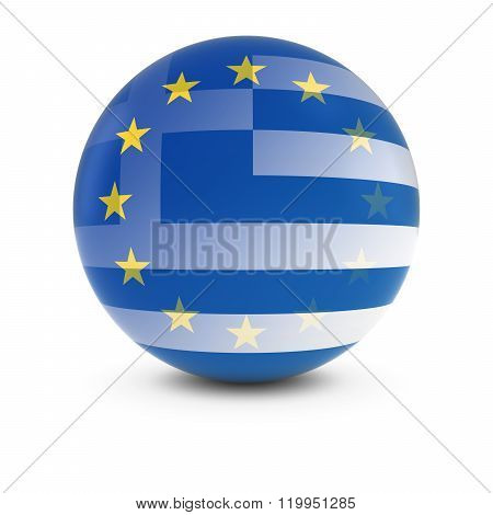 Greek And European Flag Ball - Fading Flags Of Greece And The Eu