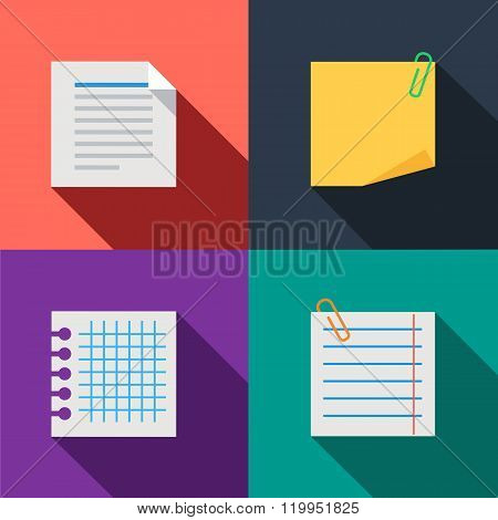Blanks paper notes set color icons
