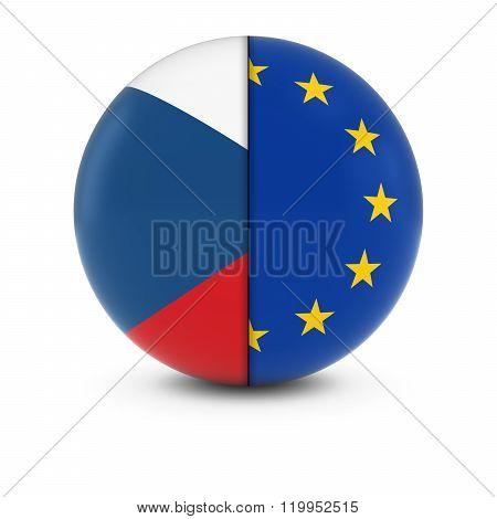 Czech And European Flag Ball - Split Flags Of The Czech Republic And The Eu