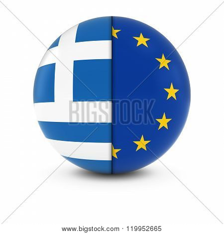 Greek And European Flag Ball - Split Flags Of Greece And The Eu