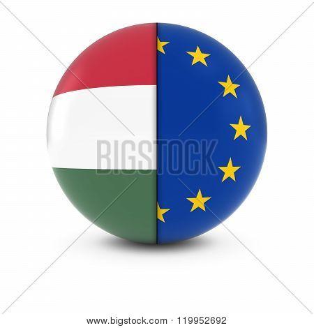 Hungarian And European Flag Ball - Split Flags Of Hungary And The Eu