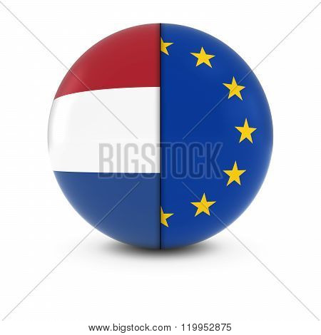 Dutch And European Flag Ball - Split Flags Of The Netherlands And The Eu