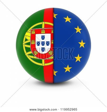 Portuguese And European Flag Ball - Split Flags Of Portugal And The Eu