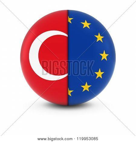 Turkish And European Flag Ball - Split Flags Of Turkey And The Eu