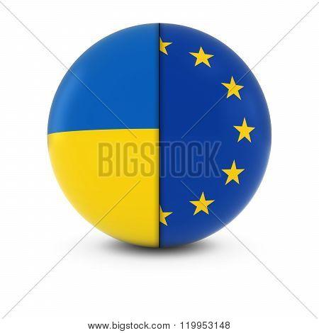 Ukrainian And European Flag Ball - Split Flags Of Ukraine And The Eu
