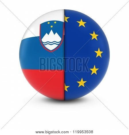 Slovenian And European Flag Ball - Split Flags Of Slovenia And The Eu
