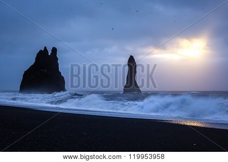 Rocks Of Reynisdrangar, Iceland