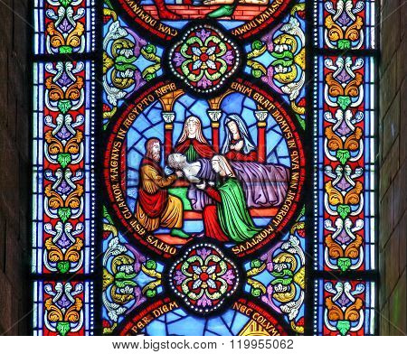 Ely, Cambridgeshire, United Kingdom, September 4th 2007 Ely Cathedral Stained glass window depicting the death of the first born